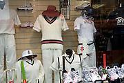 Cricket clothing sport shop window, John Moore's, Bath