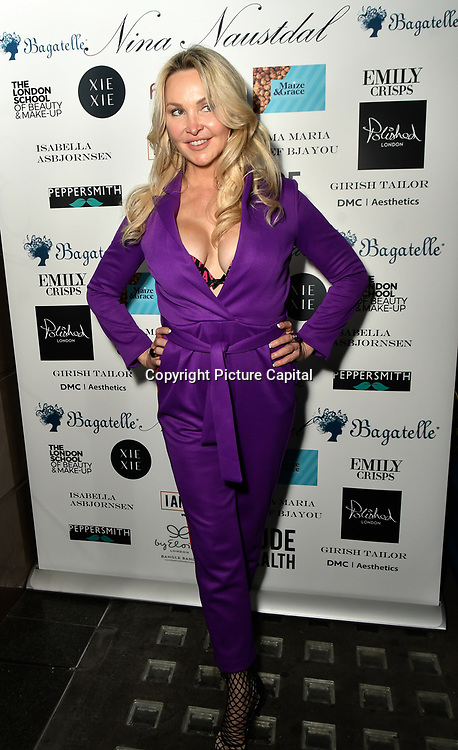 Heather Bird tchenguiz  Arrivers at Nina Naustdal catwalk show SS19/20 collection by The London School of Beauty & Make-up at Bagatelle on 26 Feb 2019, London, UK.