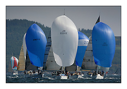Bell Lawrie Scottish Series 2008. Fine North Easterly winds brought perfect racing conditions in this years event..Class 2 Downwind  GBR1433R Salamander XX, IRL33333 Contango, IRL 3550 Exaltation