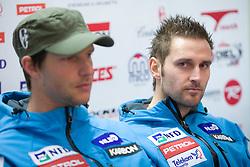 Andrej Jerman and Ales Gorza at press conference of Men Slovenian alpine team before the World Championship in Val d'Isere, France,  on January 26, 2009, in Ljubljana, Slovenia.  (Photo by Vid Ponikvar / Sportida)