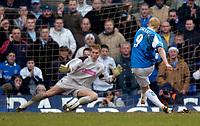 Photo: Richard Lane.<br />Birmingham City v West Bromwich Albion. The Barclays Premiership. 11/03/2006. <br />Birmingham's Mikael Forssell scores a penalty past Thomasz Kuszczak.