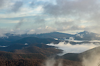 Fog drifts through the Blue Ridge Mountains shortly after sunrise.
