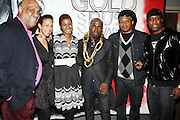 l to r: Danny Simmons, Vanessa Rodriquez, Tange Murray, Derrick Addams, Sway and Talib Kweli at The First Annual 2009 Gold Rush Awards held at the Red Bull Space on February 11, 2009 in New York City..Rush Arts Gallery (Chelsea, NY) and Corridor Gallery (Clinton Hill, Brooklyn) founded 1996 are core programs within the Rush Philanthropic Arts Foundation (non-profit) dedicated to providing urban youth with significant exposure and access to the arts, as well as providing exhibition opportunities to artists.  The exhibitions and education programs of the galleries are also sponsored in part by a grant from the New York State Council for the Arts and are free and open to the public..