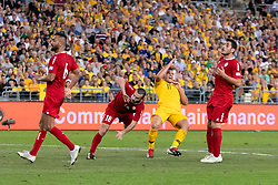 November 20, 2018 - Sydney, NSW, U.S. - SYDNEY, AUSTRALIA - NOVEMBER 20: Lebanon player WAlid Ismail (18) and Australian forward Andrew Nabbout (11) come together at the international soccer match between Australia and Lebanon on November 20, 2018, at ANZ Stadium in NSW, Australia. (Photo by Speed Media/Icon Sportswire) (Credit Image: © Speed Media/Icon SMI via ZUMA Press)