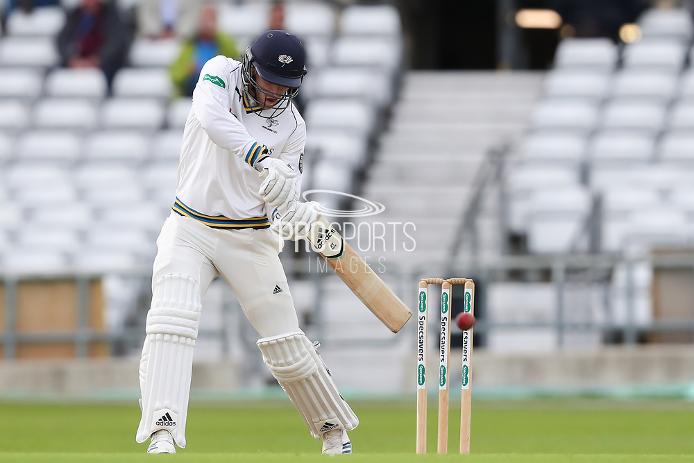 David Willey of Yorkshire plays an attacking shot during the opening day of the Specsavers County Champ Div 1 match between Yorkshire County Cricket Club and Hampshire County Cricket Club at Headingley Stadium, Headingley, United Kingdom on 27 May 2019.