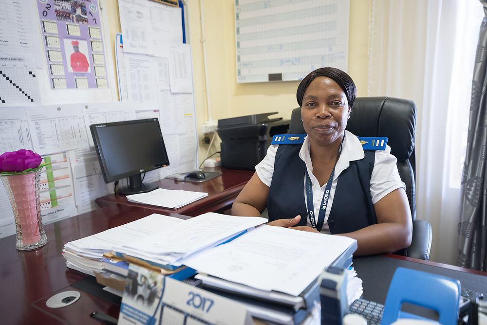 2 March 2017, Ma Mafefooane Valley, Lesotho: Lydia Mokotso is principal of the Roma College of Nursing, a Roman Catholic non-profic institution under the Christian Health Association of Lesotho. The college educates nurses and midwives, and is situated adjacent to Saint Joseph's Hospital in the Ha Mafefooane Valley, some 35 kilometers from Lesotho's capital, Maseru. The school forms an integral part of Saint Joseph's Hospital, where the students acquire essential parts of their hands-on training. The school was founded in 1972, and is open to candidates of any gender and various religious backgrounds. Applications are also open to students from other countries. Most students begin their studies at the age of 19-20. Most are from Lesotho, but some are international. The college hosts a total of some 120 students. Four out of five are women. Through sponsorship from ICAP and the Nursing Education Partnership Initiative (NEPI), which draws funds from PEPFAR, the school maintains a library and a skills laboratory specifically designed to improve nursing education in Lesotho. There are six nursing training institutions in Lesotho in total, of which four are denominational as part of the Christian Health Association of Lesotho, and thus owned by the churches. Two institutions are public, run by the government.