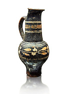 Early 3rd century B.C oenochoe, wine jug, with a trilobata spout, black and overpainted , inv 4380,   National Archaeological Museum Florence, Italy, white background .<br /> <br /> If you prefer to buy from our ALAMY PHOTO LIBRARY  Collection visit : https://www.alamy.com/portfolio/paul-williams-funkystock - Scroll down and type - Etruscan Florence - into LOWER search box. (TIP - Refine search by adding a background colour as well).<br /> <br /> Visit our ETRUSCAN PHOTO COLLECTIONS for more photos to download or buy as wall art prints https://funkystock.photoshelter.com/gallery-collection/Pictures-Images-of-Etruscan-Historic-Sites-Art-Artefacts-Antiquities/C0000GgxRXWVMLyc