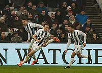 Football - 2016 / 2017 Premier League - West Ham United vs. West Bromwich Albion<br /> <br /> Jonny Evans of West Bromwich Albion turns away in celebration after heading in his teams last minute equaliser at the London Stadium.<br /> <br /> COLORSPORT/DANIEL BEARHAM
