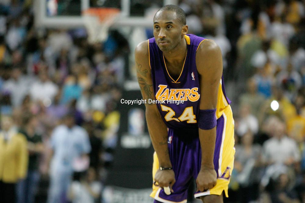 April 24, 2011; New Orleans, LA, USA; Los Angeles Lakers shooting guard Kobe Bryant (24) against the New Orleans Hornets during the fourth quarter in game four of the first round of the 2011 NBA playoffs at the New Orleans Arena. The Hornets defeated the Lakers 93-88.   Mandatory Credit: Derick E. Hingle