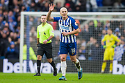 Aaron Mooy (Brighton) waves to the Brighton & Hove Albion FC supporters following his first goal for Brighton & Hove Albion FC during the Premier League match between Brighton and Hove Albion and Bournemouth at the American Express Community Stadium, Brighton and Hove, England on 28 December 2019.