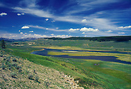 USA, Wyoming, Yellowstone National Park. The Yellowstone River flows through the Hayden Valley, between Yellowstone Falls and Yellowstone Lake.