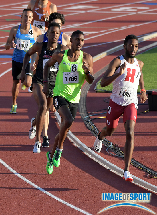 Mar 29, 2018; Austin, TX, USA; Myles Marshall of Harvard (1400) and James Gilreath (1796) lead the invitational 800m during the 91st Clyde Littlefield Texas Relays at Mike A. Myers Stadium.