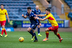 Dundee's Shaun Byrne and Partick Thistle's Reece Cole. Dundee 2 v 0 Partick Thistle, Scottish Championship game played 8/2/2020 at Dundee stadium Dens Park.