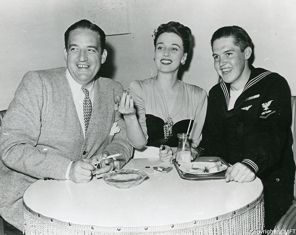 1943 (L-R) Laird Cregar and Patrick Morrison with a sailor at the Hollywood Canteen