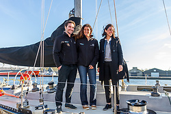 French Junior Minister attached to the Minister of Ecological and Inclusive Transition Brune Poirson with Marie Tabarly on the St Malo Harbour before the departure of the Route du Rhum 2018, on November 3, 2018. Photo by Arnaud Masson/ABACAPRESS.COM