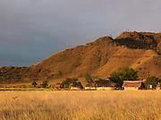A low sun illuminates the village of Uruyen, near to Auyantepui in Canaima National Park, Venezuela