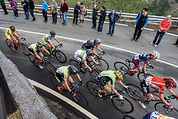 Lead group around the hairpin - Emakumeen Saria - Durango-Durango 2016. A 113km road race starting and finishing in Durango, Spain on 12th April 2016.