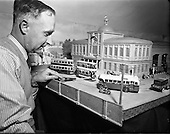 1954 – 10/06 Mr Cyril Fry, Dundrum, with his Miniature Belfast Trams
