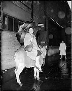 """""""Bus Fares Up"""" .1960..15.01.1960..01 15 1960..15 January 1960...With an imminent rise in bus fares on the cards Maureen Potter,Ireland's best known entertainer, expressed her outrage by getting her own mode of transport, a donkey...Image shows Maureen leaving the Gaiety Theatre aboard her donkey."""