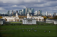 The National Maritime Museum and the Old Royal Naval College with the city of London in the background. The view is from the Royal Observatory<br /><br /> Photo by Dennis Brack