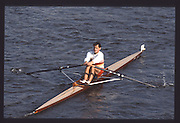 London. United Kingdom.  GBR M1X, Wade HALL CRAGGS, 1990 Scullers Head of the River Race. River Thames, viewpoint Chiswick Bridge Saturday 07.04.1990<br /> <br /> [Mandatory Credit; Peter SPURRIER/Intersport Images] 19900407 Scullers Head, London Engl