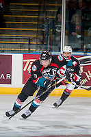 KELOWNA, CANADA - SEPTEMBER 28: Rodney Southam #17 of Kelowna Rockets skates with the puck against the Prince George Cougars on September 28, 2016 at Prospera Place in Kelowna, British Columbia, Canada.  (Photo by Marissa Baecker/Shoot the Breeze)  *** Local Caption *** Rodney Southam;