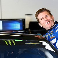 February 10, 2018 - Daytona Beach, Florida, USA: Jamie McMurray (1) hangs out in the garage during practice for the Advance Auto Parts Clash at Daytona International Speedway in Daytona Beach, Florida.