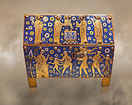 Medieval enamelled box with scenes of the Massacre of the Innocents, last quarter of the 12th century from Limoges, enamel on gold. Monflanquin, Lot-en-Gironne. AD. Inv OA 10406, The Louvre Museum, Paris. .<br /> <br /> If you prefer you can also buy from our ALAMY PHOTO LIBRARY Collection visit : https://www.alamy.com/portfolio/paul-williams-funkystock/limoges-enamel-antiquities.html Type - louvre - into the LOWER SEARCH WITHIN GALLERY box. <br /> <br /> Visit our MEDIEVAL ART PHOTO COLLECTIONS for more photos to download or buy as prints https://funkystock.photoshelter.com/gallery-collection/Medieval-Gothic-Art-Antiquities-Historic-Sites-Pictures-Images-of/C0000gZ8POl_DCqE