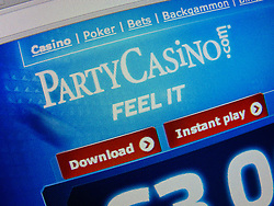Detail of screen shot from PartyCasino internet casino website homepage