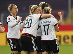 12.04.2016, Osnatel Arena, Osnabrueck, GER, UEFA Euro Qualifikation, Frauen, Deutschland vs Kroatien, im Bild Torjubel ueber das Tor zum 1:0 durch Dzsenifer Marozsan (#10, Deutschland) mit Saskia Bartusiak (#3, Deutschland), Babett Peter (#14, Deutschland), Pauline Bremer (#20, Deutschland), Isabell Kerchowski (#17, Deutschland) // during the UEFA Womens Euro Qualification Match between Germany and Croatia at the Osnatel Arena in Osnabrueck, Germany on 2016/04/12. EXPA Pictures © 2016, PhotoCredit: EXPA/ Eibner-Pressefoto/ Deutzmann<br /> <br /> *****ATTENTION - OUT of GER*****