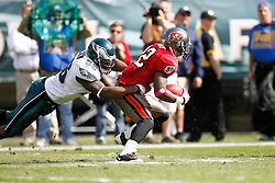 Philadelphia Eagles linebacker Akeem Jordan #56 makes a tackle during the NFL game between the Tampa Bay Buccaneers and the Philadelphia Eagles on October 11th 2009. The Eagles won 33-14 at Lincoln Financial Field in Philadelphia, Pennsylvania. (Photo By Brian Garfinkel)