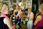 Zadar, Croatia, Jun 16, 2010, Five women at the flowerstore. PHOTO © Christophe Vander Eecken  .