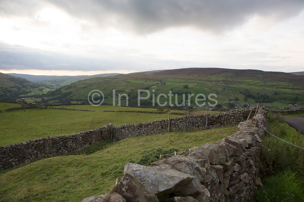View Swaledale looking north across fellside fields of farmland and dry stone walls. Yorkshire, England, UK. This is a farming area where rural living and the countryside is at the centre of life in this county. Swaledale runs broadly from west to east. To the south and east of the ridge a number of smaller dales. Swaledale is a typical limestone Yorkshire dale, with its narrow valley-bottom road, green meadows and fellside fields, white sheep and dry stone walls on the glacier-formed valley sides.