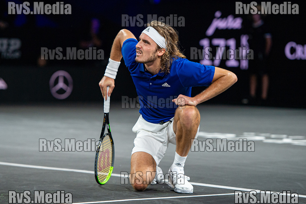 GENEVA, SWITZERLAND - SEPTEMBER 22: Stefanos Tsitsipas of Team Europe reacts during Day 3 of the Laver Cup 2019 at Palexpo on September 22, 2019 in Geneva, Switzerland. The Laver Cup will see six players from the rest of the World competing against their counterparts from Europe. Team World is captained by John McEnroe and Team Europe is captained by Bjorn Borg. The tournament runs from September 20-22. (Photo by Monika Majer/RvS.Media)