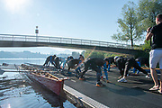 """Lucerne, SWITZERLAND, 12th July 2018, Friday  General View, Seeclub, Luzern"""", Physical exercise, warm-up stretches """"Lake Lucerne',  Photographer, Karon PHILLIPS,"""