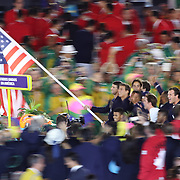 Opening Ceremony 2016 Olympic Games: Michael Phelps carries the USA flag as athletes enter the Maracana stadium during the spectacular opening ceremony for the 2016 Olympic Games on August 5, 2016 in Rio de Janeiro, Brazil. (Photo by Tim Clayton/Corbis via Getty Images)