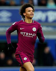 Leroy Sane of Manchester City celebrates scoring a goal to make it 1-0 - Mandatory by-line: Robbie Stephenson/JMP - 31/03/2018 - FOOTBALL - Goodison Park - Liverpool, England - Everton v Manchester City - Premier League