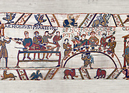 11th Century Medieval Bayeux Tapestry - Scene 43 & 44 -  William at a banquet with his Barons and Bishop Odon. .<br /> <br /> If you prefer you can also buy from our ALAMY PHOTO LIBRARY  Collection visit : https://www.alamy.com/portfolio/paul-williams-funkystock/bayeux-tapestry-medieval-art.html  if you know the scene number you want enter BXY followed bt the scene no into the SEARCH WITHIN GALLERY box  i.e BYX 22 for scene 22)<br /> <br />  Visit our MEDIEVAL ART PHOTO COLLECTIONS for more   photos  to download or buy as prints https://funkystock.photoshelter.com/gallery-collection/Medieval-Middle-Ages-Art-Artefacts-Antiquities-Pictures-Images-of/C0000YpKXiAHnG2k