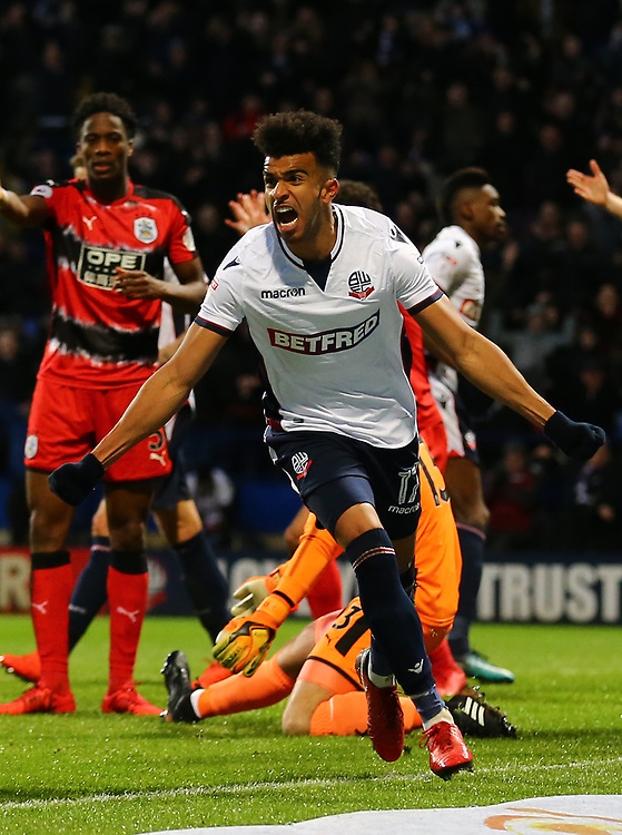 Derik Osede of Bolton Wanderers celebrates scoring his goal <br /> <br /> Photographer Leila Coker/CameraSport<br /> <br /> The Emirates FA Cup Third Round - Bolton Wanderers v Huddersfield Town - Saturday 6th January 2018 - Macron Stadium - Bolton<br />  <br /> World Copyright © 2018 CameraSport. All rights reserved. 43 Linden Ave. Countesthorpe. Leicester. England. LE8 5PG - Tel: +44 (0) 116 277 4147 - admin@camerasport.com - www.camerasport.com