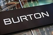 Sign for men's clothes shop Burton.