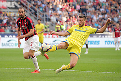 October 7, 2018 - Milan, Milan, Italy - Mattia Bani #14 of AC Chievo Verona competes for the ball with Gonzalo Higuain #9 of AC Milan during the serie A match between AC Milan and Chievo Verona at Stadio Giuseppe Meazza on October 7, 2018 in Milan, Italy. (Credit Image: © Giuseppe Cottini/NurPhoto/ZUMA Press)
