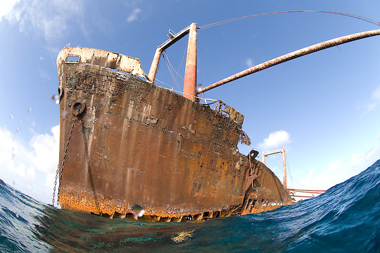A shipwreck on the reef of Silver Bank near the Dominican Republic.
