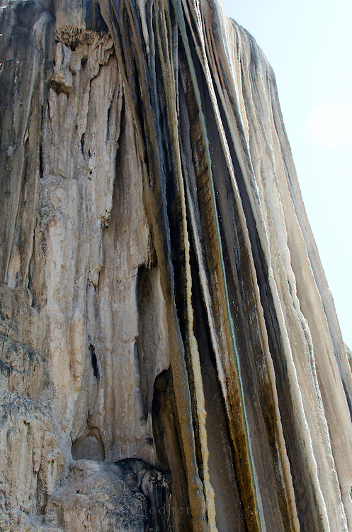 Looking up at the waterfall-like rock formations at Hierve el Agua, Oaxaca.