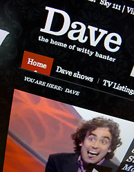 Detail of online entertainment television website Dave homepage screen shot