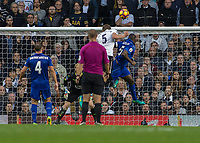 Football - 2016 / 2017 Premier League - Tottenham Hotspur vs. Leicester City<br /> <br /> Jan Vertonghen of Tottenham with a header that rebounded of the crossbar at White Hart Lane.<br /> <br /> COLORSPORT/DANIEL BEARHAM