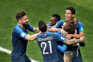 Team France celebrating the 1-0 after Croatia forwarder Mario Mandzukic scored own goal during the 2018 FIFA World Cup Russia, final football match between France and Croatia on July 15, 2018 at Luzhniki Stadium in Moscow, Russia - Photo Stanley Gontha / Proshots / ProSportsImages / DPPI