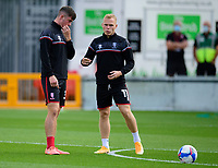 Lincoln City's Sean Roughan, left, and Anthony Scully during the pre-match warm-up<br /> <br /> Photographer Andrew Vaughan/CameraSport<br /> <br /> The EFL Sky Bet League One - Saturday 12th September  2020 - Lincoln City v Oxford United - LNER Stadium - Lincoln<br /> <br /> World Copyright © 2020 CameraSport. All rights reserved. 43 Linden Ave. Countesthorpe. Leicester. England. LE8 5PG - Tel: +44 (0) 116 277 4147 - admin@camerasport.com - www.camerasport.com - Lincoln City v Oxford United