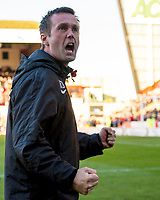 09/11/14 SCOTTISH PREMIERSHIP <br /> ABERDEEN v CELTIC <br /> PITTODRIE - ABERDEEN<br /> Celtic manager Ronny Deila celebrates at the full time whistle