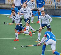 UTRECHT - Drukte voor het Pinoke doel, met oa  Dick Möhlmann (Pinoke), Niklas Wellen (Pinoke) ,  tijdens de hoofdklasse hockey wedstrijd mannen, Kampong-Pinoke (1-0) COPYRIGHT KOEN SUYK