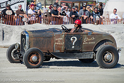Atsushi (Sushi) Yasui of Freewheelers and Company from Japan in his Hot Rod racer at the the Race of Gentlemen. Wildwood, NJ, USA. October 11, 2015.  Photography ©2015 Michael Lichter.